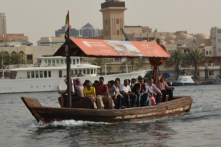 Crossing Dubai Creek by water taxi