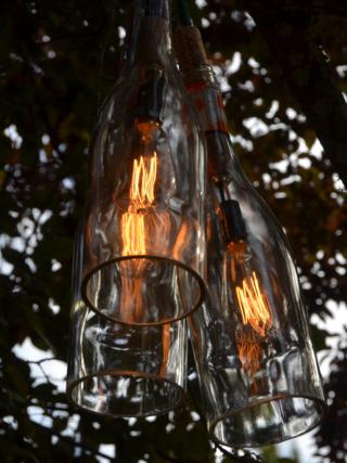 Wine bottle chandelier!